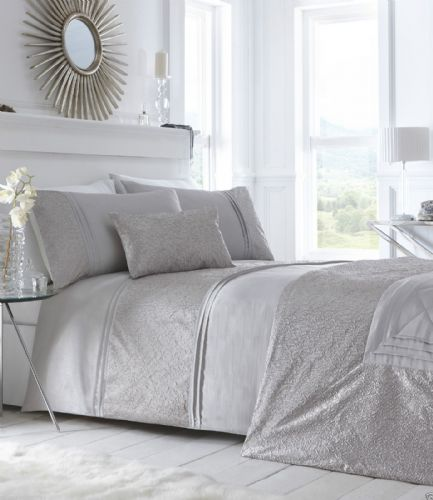 Silver Grey Stylish Shimmer Crinkle Duvet Quilt Cover Luxury Beautiful Bedding